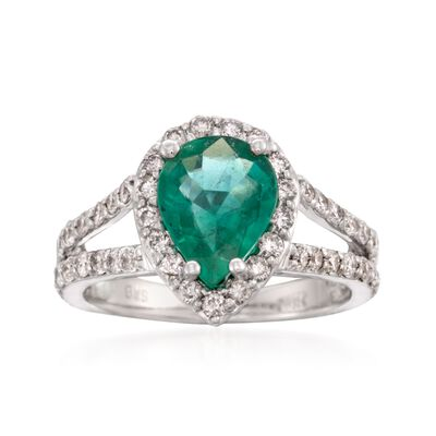 1.85 Carat Emerald and 1.00 ct. t.w. Diamond Ring in 14kt White Gold, , default