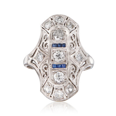 C. 1940 Vintage .85 ct. t.w. Diamond Dinner Ring with Synthetic Sapphire Accents in Platinum