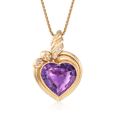 C. 1980 Vintage 25.00 Carat Amethyst and .35 ct. t.w. Diamond Heart Pendant Necklace in 14kt Yellow Gold, , default