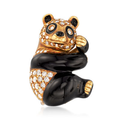 C. 1970 Vintage .60 ct. t.w. Diamond Panda Pin in 18kt Yellow Gold