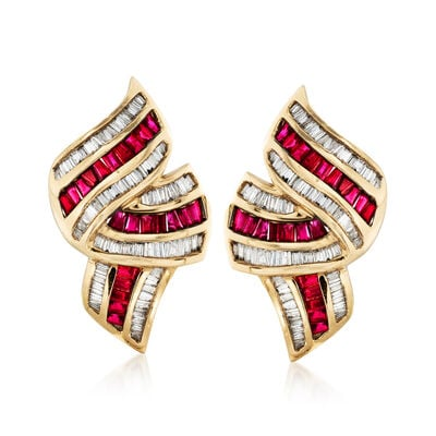 C. 1990 Vintage 2.20 ct. t.w. Ruby and 1.75 ct. t.w. Diamond Ribbon Earrings in 14kt Yellow Gold, , default