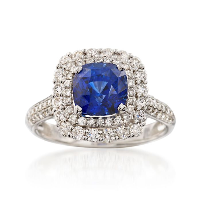 C. 2000 Vintage 2.73 Carat Sapphire and .89 ct. t.w. Diamond Ring in 18kt White Gold. Size 6.5, , default