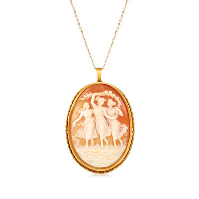 C. 1950 Vintage Shell Cameo Pendant Necklace in 14kt Yellow Gold, , default