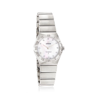 Omega Constellation Women's 28mm Stainless Steel Watch with Diamonds and Mother-Of-Pearl Dial