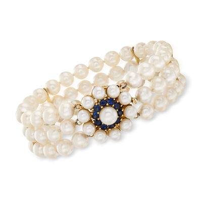 C. 1980 Vintage 5-7mm Cultured Pearl and 1.00 ct. t.w. Sapphire Flower Bracelet with 14kt Yellow Gold