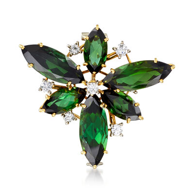 C. 1970 Vintage 9.60 ct. t.w. Green Tourmaline and .55 ct. t.w. Diamond Flower Pin in 18kt Yellow Gold
