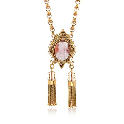 C. 1900 Vintage 23.7x17.5mm Agate Cameo and Cultured Seed Pearl Tassel Pin Pendant Necklace in 12kt Gold