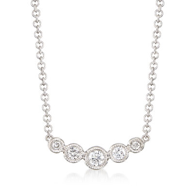 Gabriel Designs .10 ct. t.w. Graduated Diamond Necklace in 14kt White Gold, , default