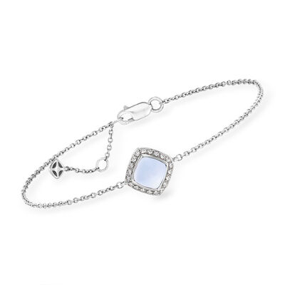 """C. 1990 Fred """"Pain De Sucre"""" 1.20 Carat Chalcedony and .10 ct. t.w. Diamond Bracelet in 18kt White Gold"""