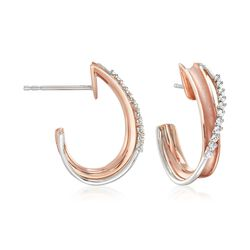 "Simon G. ""Modern Enchantment"" .13 ct. t.w. Diamond Curve J-Hoop Earrings in 18kt Two-Tone Gold, , default"