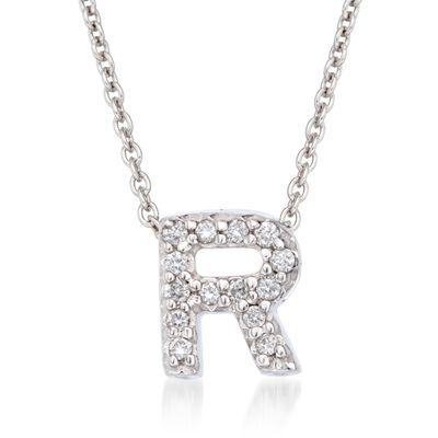 "Roberto Coin ""Love Letter"" Diamond Accent Initial ""R"" Necklace in 18kt White Gold, , default"
