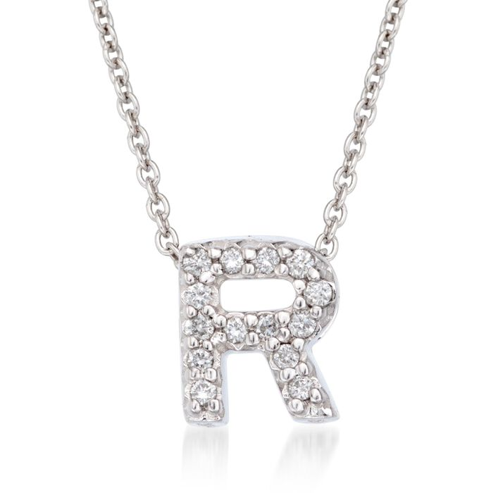 """Roberto Coin """"Love Letter"""" Diamond Accent Initial """"R"""" Necklace in 18kt White Gold"""