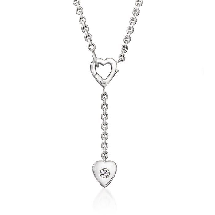 C. 2000 Cartier .10 Carat Diamond Heart Y-Necklace in 18kt White Gold