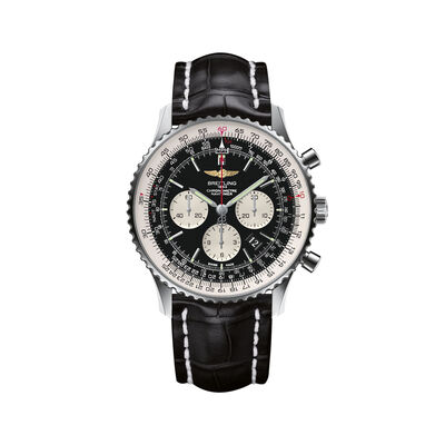 Breitling Navitimer 01 Chronograph Men's 46mm Stainless Steel Watch - Black Dial and Leather Strap, , default