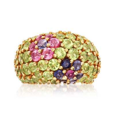 C. 1980 Vintage 7.60 ct. t.w. Multi-Gemstone Flower Ring in 18kt Yellow Gold, , default