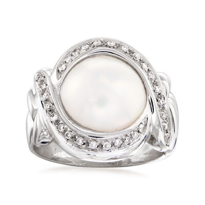 C. 1980 Vintage Cultured Mabe Pearl and .25 ct. t.w. Diamond Ring in 18kt White Gold