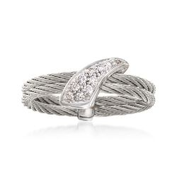 "ALOR ""Classique"" Gray Cable Ring With Diamond Accents and 18kt White Gold, , default"