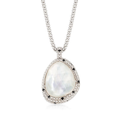 "Phillip Gavriel ""Popcorn"" 11.00 Carat Quartz Over Mother-Of-Pearl Pendant Necklace with Black Spinel Accents in Sterling, , default"