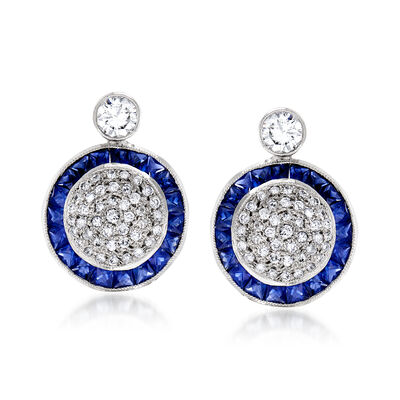 C. 1990 Vintage 2.70 ct. t.w. Sapphire and 1.45 ct. t.w. Pave Diamond Earrings