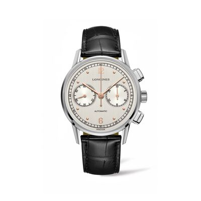 Longines Heritage 1940 Men's 41mm Auto Chronograph Stainless Steel Watch with Black Alligator