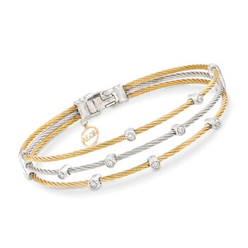 """ALOR """"Classique"""" .18 ct. t.w. Diamond Two-Tone Sterling Silver Cable Bracelet With 18kt Two-Tone Gold. 7"""", , default"""