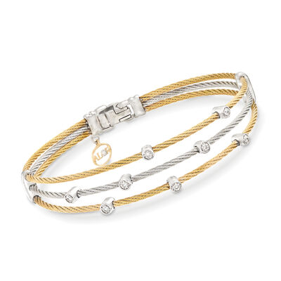 "ALOR ""Classique"" .18 ct. t.w. Diamond Two-Tone Sterling Silver Cable Bracelet With 18kt Two-Tone Gold, , default"
