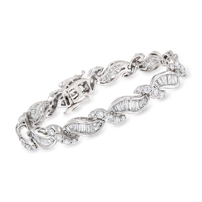 C. 1980 Vintage 9.70 ct. t.w. Diamond Bracelet in 14kt White Gold, , default