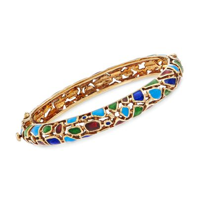 C. 1980 Vintage Multicolored Enamel Mosaic Bangle Bracelet in 14kt Yellow Gold