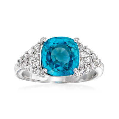 C. 1990 Vintage 4.47 Carat Blue Zircon and .50 ct. t.w. Diamond Ring in 14kt White Gold