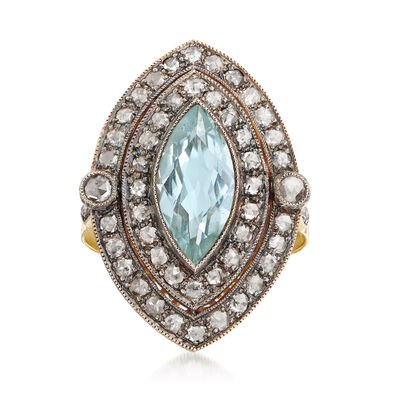 C. 1980 Vintage 1.71 Carat Aquamarine and 1.06 ct. t.w. Diamond Ring in Sterling Silver and 18kt Yellow Gold