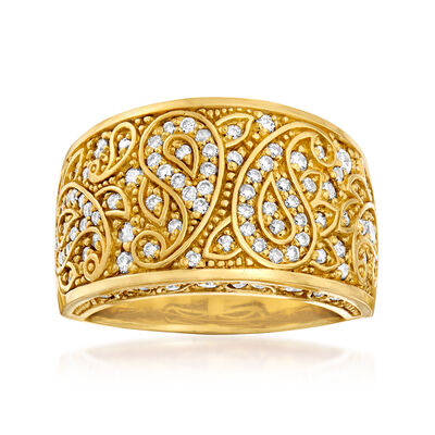 C. 1990 Vintage .83 ct. t.w. Diamond Scroll Ring in 18kt Yellow Gold
