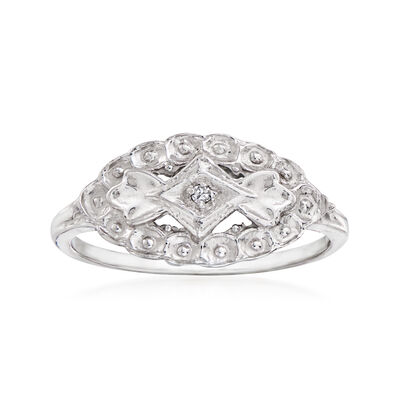 C. 1940 Vintage Diamond-Accented Ring in 10kt White Gold
