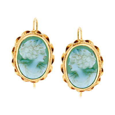 C. 1960 Vintage Green Chalcedony Cameo Drop Earrings in 14kt Yellow Gold, , default