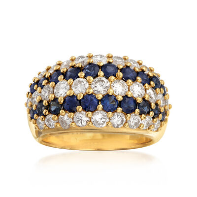 C. 1990 Vintage 1.73 ct. t.w. Diamond and 1.37 ct. t.w. Sapphire Multi-Row Ring in 18kt Yellow Gold, , default