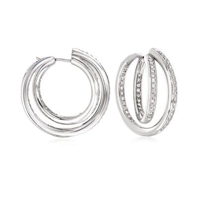 C. 1990 Vintage 1.40 ct. t.w. Diamond Double Inside-Outside Hoop Earrings in 18kt White Gold, , default