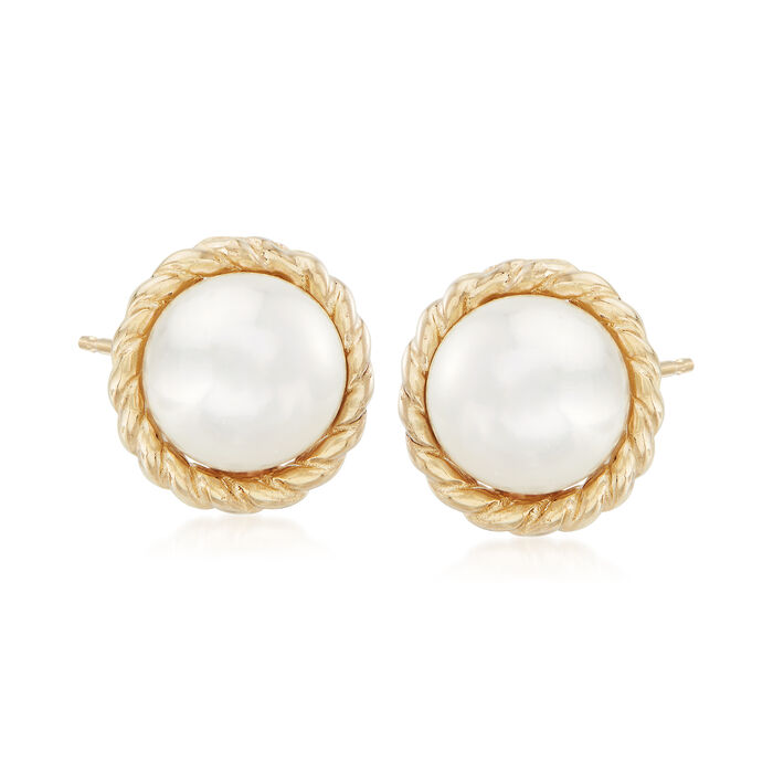 "Phillip Gavriel ""Italian Cable"" 5.5mm Cultured Pearl Earrings in 14kt Yellow Gold. Std, , default"