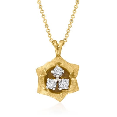C. 1980 Vintage .36 ct. t.w. Diamond Flower Pendant Necklace in 14kt Yellow Gold