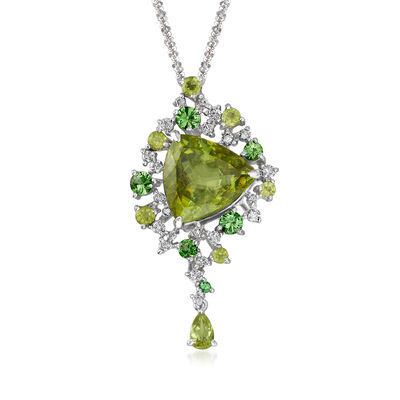 C. 1990 Vintage 6.90 ct. t.w. Multi-Gemstone and .35 ct. t.w. Diamond Necklace in 18kt White Gold, , default