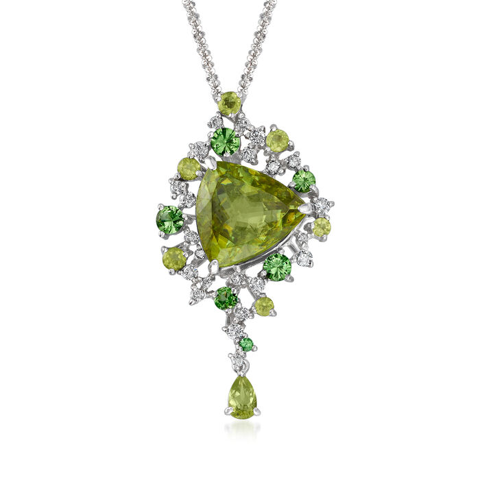C. 1990 Vintage 6.90 ct. t.w. Multi-Gemstone and .35 ct. t.w. Diamond Necklace in 18kt White Gold