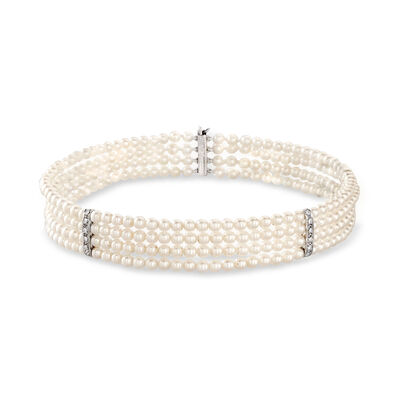 C. 1960 Vintage 4x4.4mm Cultured Pearl and .55 ct. t.w. Diamond Choker Necklace in 18kt White Gold