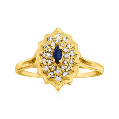 C. 1990 Vintage .10 Carat Sapphire Ring with .25 ct. t.w. Diamonds in 14kt Yellow Gold