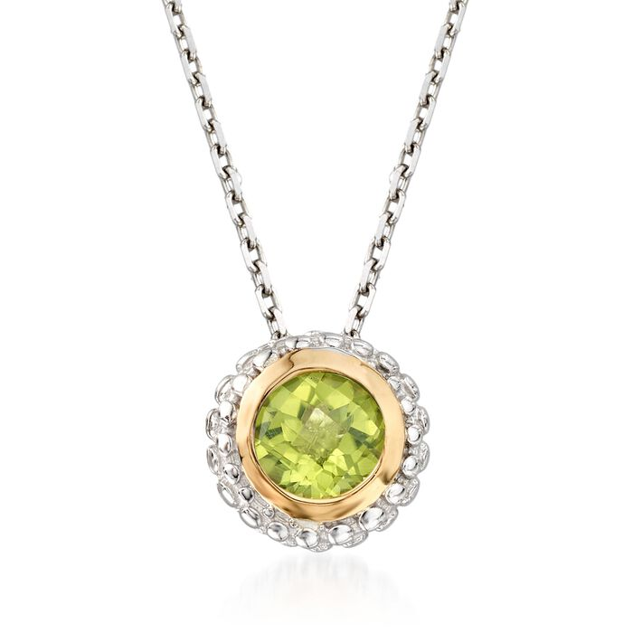 "Phillip Gavriel ""Popcorn"" .45 Carat Peridot Pendant Necklace in Sterling Silver and 18kt Gold. 18"", , default"