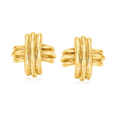 C. 1990 Vintage Tiffany Jewelry 18kt Yellow Gold X Earrings