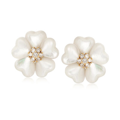 C. 1990 Vintage Mother-Of-Pearl and .50 ct. t.w. Diamond Flower Earrings in 18kt Yellow Gold , , default