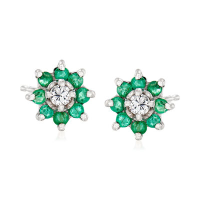 C. 1980 Vintage .35 ct. t.w. Emerald and .10 ct. t.w. Diamond Flower Earrings in 14kt White Gold
