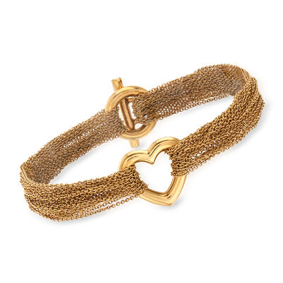 C. 1980 Vintage Tiffany Jewelry Multi-Strand Heart Bracelet in 18kt Yellow Gold, , default