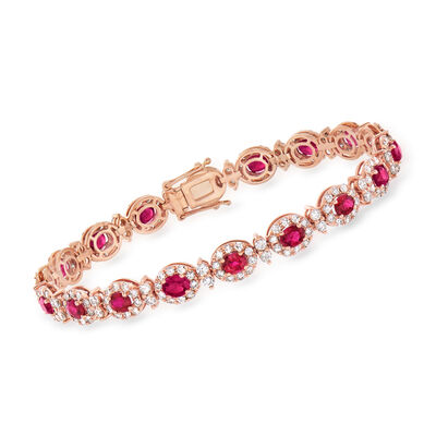 C. 1990 Vintage 6.54 ct. t.w. Ruby and 4.02 ct. t.w. Diamond Bracelet in 18kt Rose Gold