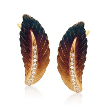 Simon G. Organic Allure Diamond Feather Earrings in 18-Karat Yellow Gold, , default
