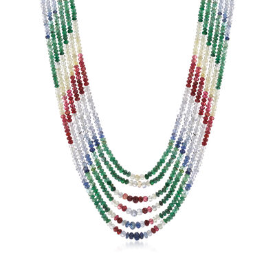 C. 1980 Vintage Multi-Gem Multi-Strand Beaded Necklace with 14kt Yellow Gold, , default