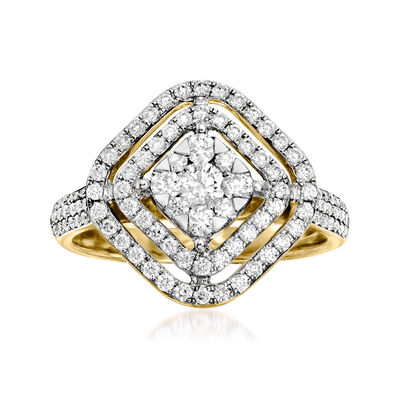 C. 1990 Vintage 1.00 ct. t.w. Diamond Open-Space Cluster Ring in 14kt Yellow Gold